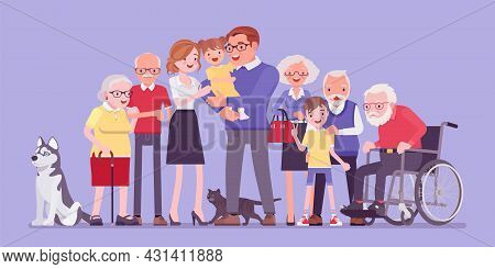 Multigenerational Family, Common Household, People Living Together In Support, Care. Four Generation