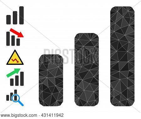 Triangle Bar Chart Polygonal Symbol Illustration, And Similar Icons. Bar Chart Is Filled With Triang