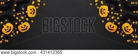 Kids Halloween Handmade Paper Pumpkins, Bat, Creative, Craft Concept On Black Background, Top View,