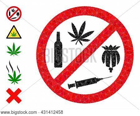 Triangle Forbid Addiction Drugs Polygonal Icon Illustration, And Similar Icons. Forbid Addiction Dru
