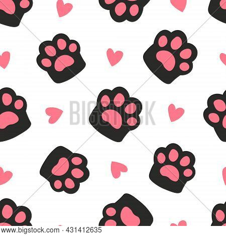Cute Print For T-shirts, Design, Packaging. Paw And Heart Seamless Pattern Footprint. Cute Black Cat