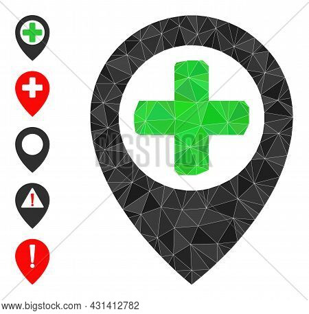 Triangle Hospital Map Pointer Polygonal 2d Illustration, And Similar Icons. Hospital Map Pointer Is