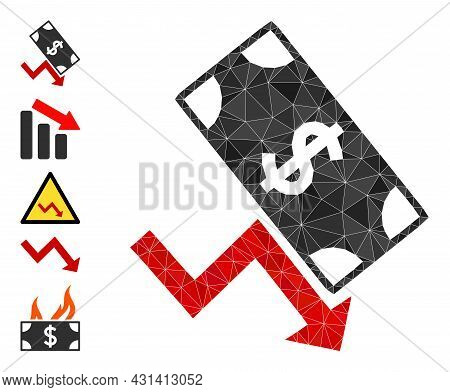 Triangle Dollar Down Trend Polygonal Icon Illustration, And Similar Icons. Dollar Down Trend Is Fill