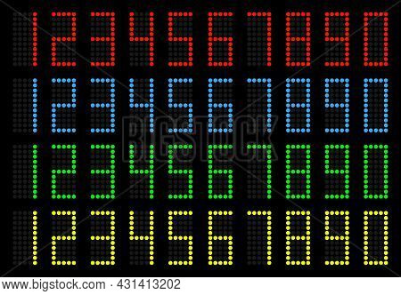 Electronic Scoreboard With A Set Of Figures.