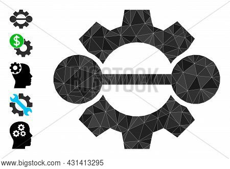 Triangle Integration Gear Polygonal 2d Illustration, And Similar Icons. Integration Gear Is Filled W