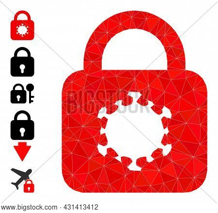 Triangle Virus Lock Polygonal Icon Illustration, And Similar Icons. Virus Lock Is Filled With Triang