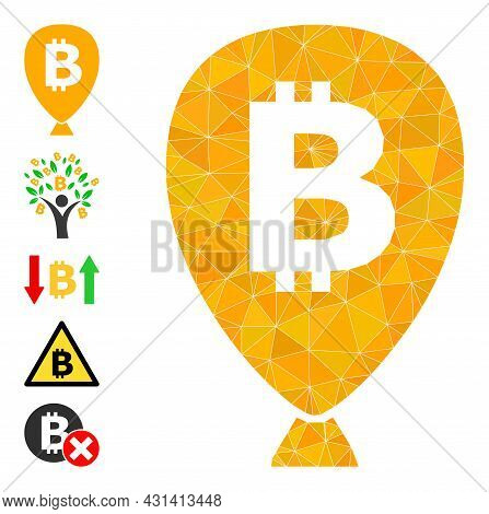 Triangle Bitcoin Balloon Polygonal 2d Illustration, And Similar Icons. Bitcoin Balloon Is Filled Wit