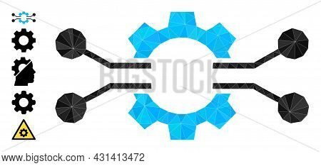 Triangle Gear Electronics Integration Polygonal 2d Illustration, And Similar Icons. Gear Electronics