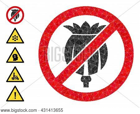 Triangle Forbid Opium Poppy Polygonal 2d Illustration, And Similar Icons. Forbid Opium Poppy Is Fill