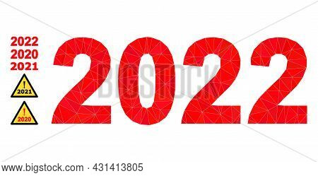 Triangle 2022 Year Digits Polygonal Icon Illustration, And Similar Icons. 2022 Year Digits Is Filled