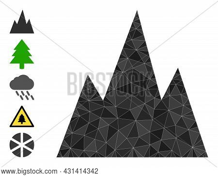 Triangle Mountains Polygonal Icon Illustration, And Similar Icons. Mountains Is Filled With Triangle