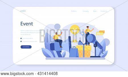 Pr Event Web Banner Or Landing Page. Celebration Or Meeting Organization