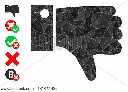 Triangle Thumb Down Polygonal Icon Illustration, And Similar Icons. Thumb Down Is Filled With Triang