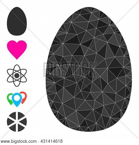 Triangle Egg Polygonal Symbol Illustration, And Similar Icons. Egg Is Filled With Triangles. Low-pol