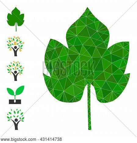 Triangle Grapes Leaf Polygonal Icon Illustration, And Similar Icons. Grapes Leaf Is Filled With Tria