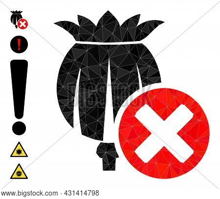 Triangle Forbid Poppy Polygonal Symbol Illustration, And Similar Icons. Forbid Poppy Is Filled With