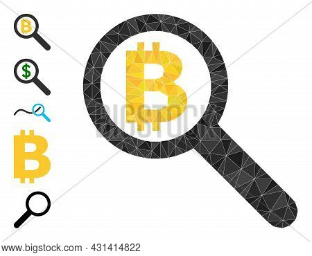 Triangle Bitcoin Audit Polygonal 2d Illustration, And Similar Icons. Bitcoin Audit Is Filled With Tr