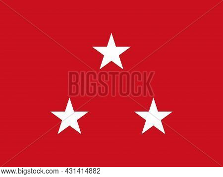 The Flag Of A Usa Marine Corps Lieutenant General Of A Tri Of White Stars Set Over A Red Background