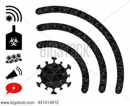 Triangle Virus Wi-fi Signal Polygonal 2d Illustration, And Similar Icons. Virus Wi-fi Signal Is Fill