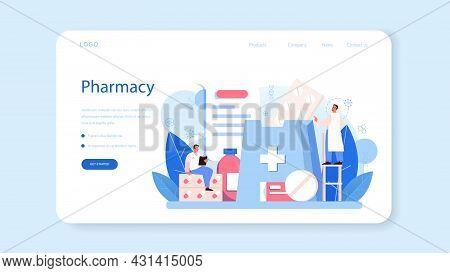 Pharmacy Web Banner Or Landing Page. Pharmacist Preparing