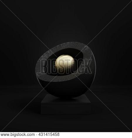 Black Pedestal With Abstract Gold Sphere In Halfshell On Dark Postament On Dark Background. Minimali