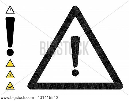 Triangle Warning Sign Polygonal Symbol Illustration, And Similar Icons. Warning Sign Is Filled With