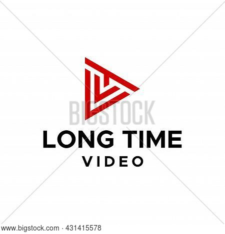 Geometric Logo About Play Icon And Letter Lt. Eps 10, Vector.