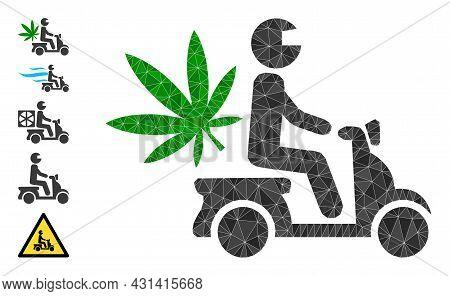 Triangle Marijuana Motorbike Delivery Polygonal Symbol Illustration, And Similar Icons. Marijuana Mo