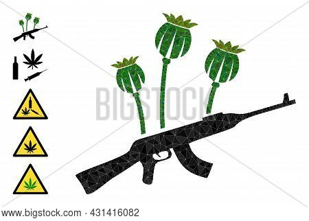 Triangle Opium Poppy Crime Polygonal 2d Illustration, And Similar Icons. Opium Poppy Crime Is Filled