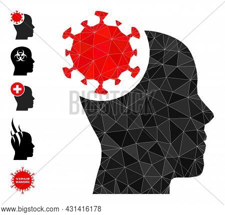 Triangle Head Virus Polygonal Icon Illustration, And Similar Icons. Head Virus Is Filled With Triang