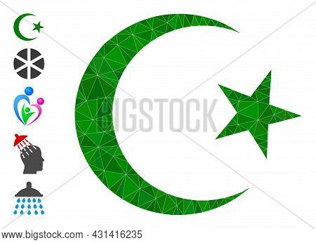 Triangle Muslim Moon Polygonal Symbol Illustration, And Similar Icons. Muslim Moon Is Filled With Tr
