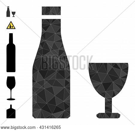Triangle Alcohol Drinks Polygonal 2d Illustration, And Similar Icons. Alcohol Drinks Is Filled With