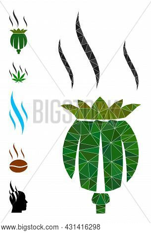 Triangle Opium Aroma Polygonal Icon Illustration, And Similar Icons. Opium Aroma Is Filled With Tria