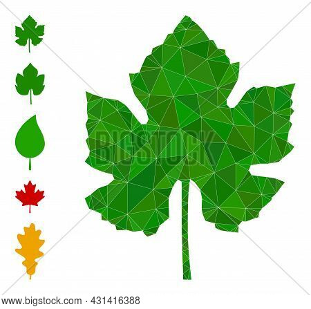 Triangle Grape Leaf Polygonal Symbol Illustration, And Similar Icons. Grape Leaf Is Filled With Tria