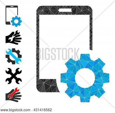 Triangle Smartphone Settings Polygonal Icon Illustration, And Similar Icons. Smartphone Settings Is