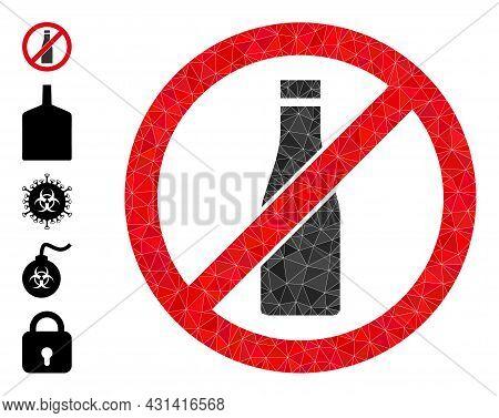 Triangle Forbid Beer Bottle Polygonal Icon Illustration, And Similar Icons. Forbid Beer Bottle Is Fi