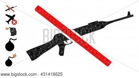 Triangle Stop Kalashnikov Gun Polygonal Icon Illustration, And Similar Icons. Stop Kalashnikov Gun I
