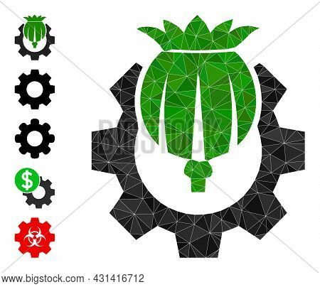 Triangle Opium Industry Polygonal Icon Illustration, And Similar Icons. Opium Industry Is Filled Wit