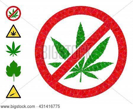 Triangle Forbid Cannabis Polygonal Symbol Illustration, And Similar Icons. Forbid Cannabis Is Filled