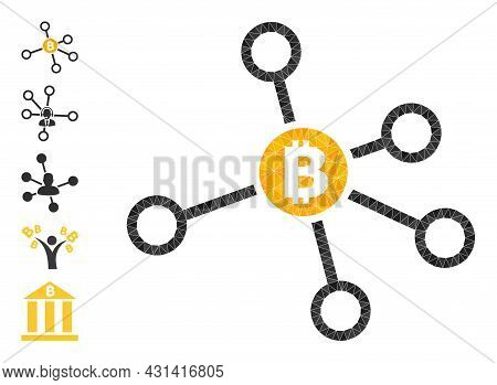 Triangle Bitcoin Node Links Polygonal Symbol Illustration, And Similar Icons. Bitcoin Node Links Is