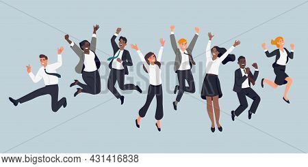 Jumping Business People. Cheerful Company Employees, Office Managers, Team Event, Men And Women In F