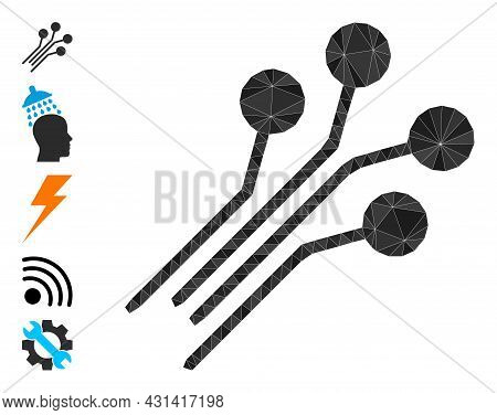 Triangle Circuit Connectors Polygonal 2d Illustration, And Similar Icons. Circuit Connectors Is Fill