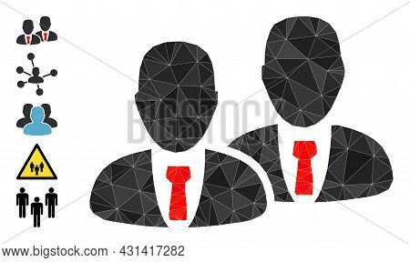 Triangle Managers Polygonal 2d Illustration, And Similar Icons. Managers Is Filled With Triangles. L