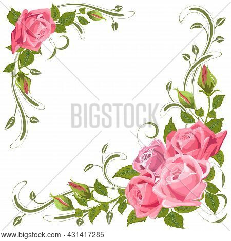 Illustration With A Decor Of Roses.festive Color Vector Card With Roses And Decor On A White Backgro