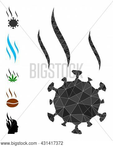 Triangle Virus Spray Polygonal 2d Illustration, And Similar Icons. Virus Spray Is Filled With Triang