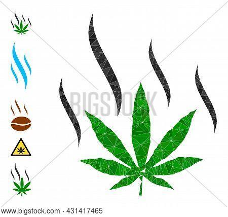 Triangle Marijuana Aroma Polygonal Icon Illustration, And Similar Icons. Marijuana Aroma Is Filled W
