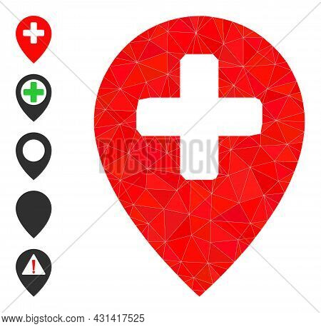 Triangle Clinic Map Pointer Polygonal Icon Illustration, And Similar Icons. Clinic Map Pointer Is Fi