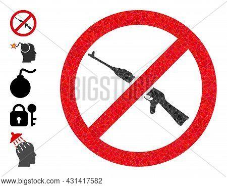 Triangle Forbid Kalashnikov Weapon Polygonal Symbol Illustration, And Similar Icons. Forbid Kalashni