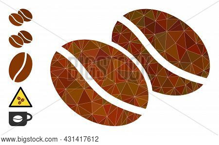 Triangle Coffee Beans Polygonal Symbol Illustration, And Similar Icons. Coffee Beans Is Filled With