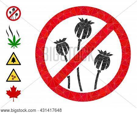 Triangle Stop Poppy Plants Polygonal Symbol Illustration, And Similar Icons. Stop Poppy Plants Is Fi